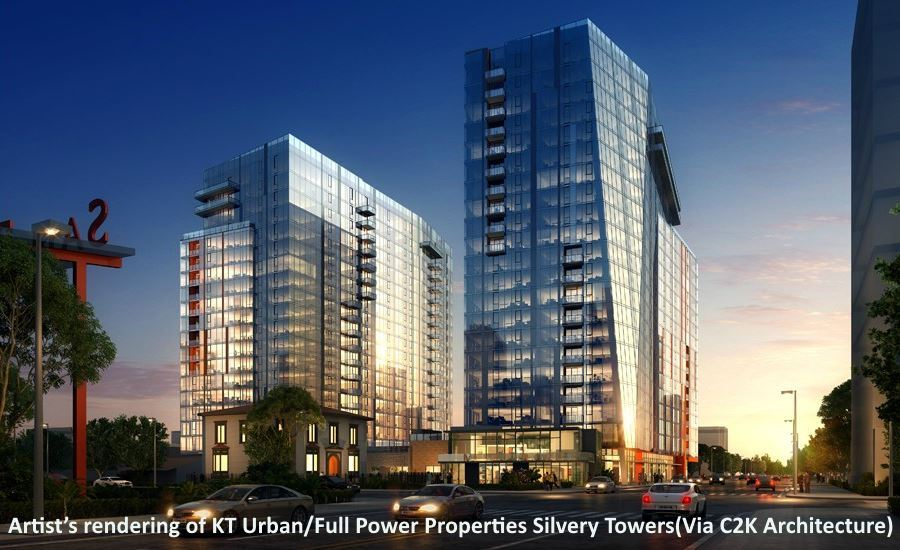 Artist's rendering of KT Urban/Full Power Properties Silvery Towers(Via C2K Architecture)